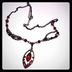 """1928 Gunmetal Red Stone  18"""" Chain Necklace"""